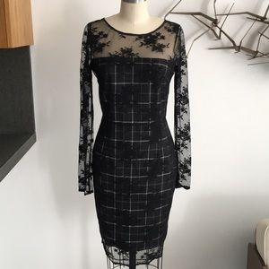 Bailey 44 Black Dress plaid dress with ace overlay